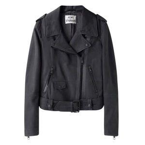 Acne Studios Black Mape Scuba Leather Jacket 36